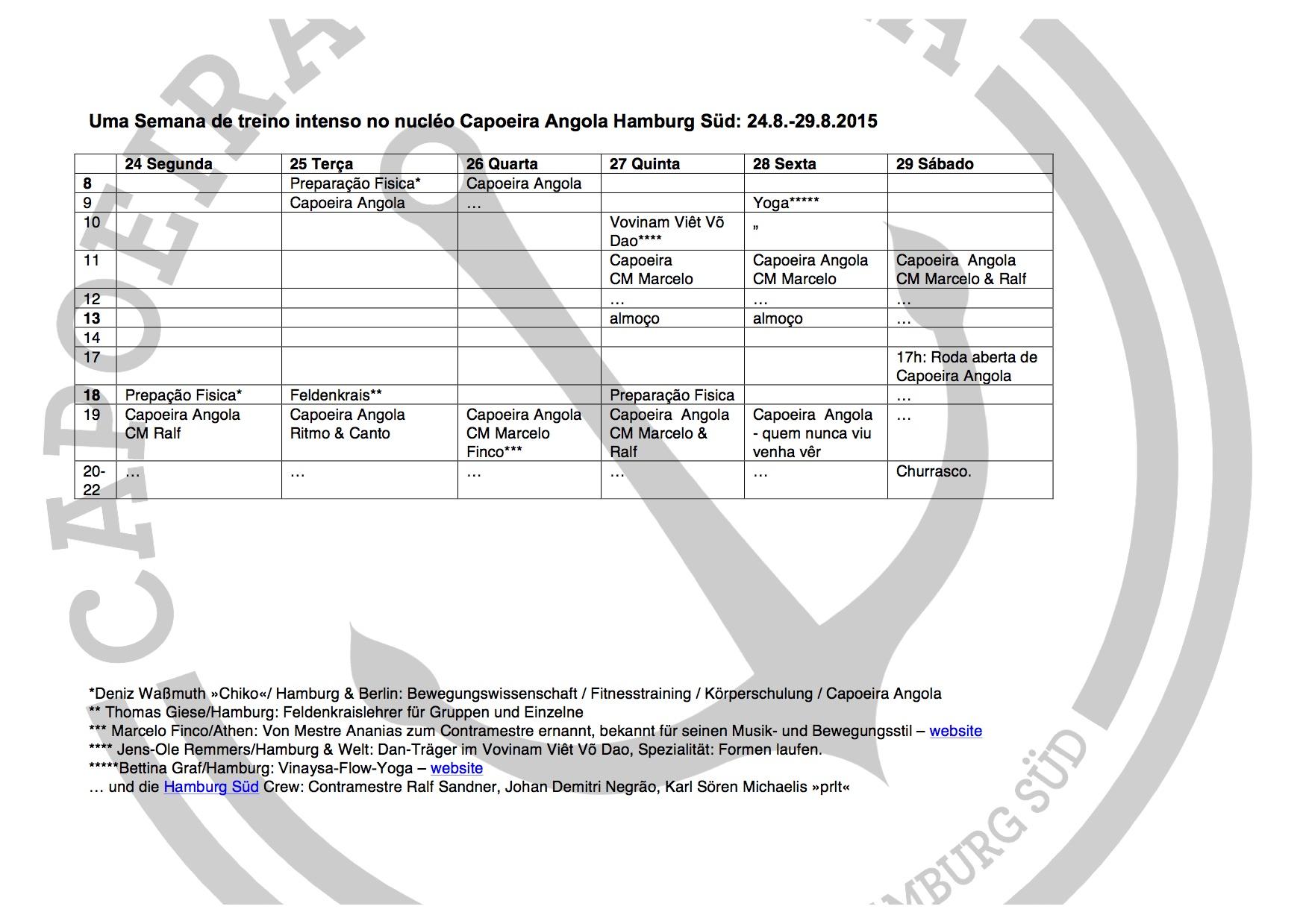 Trainingswoche-Stundenplan